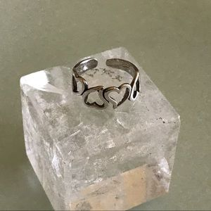 Sterling Silver 925 Cut Out Hearts Toe Ring